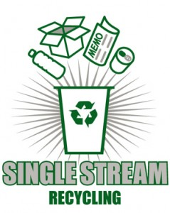 single-stream-recycling sticker on cans